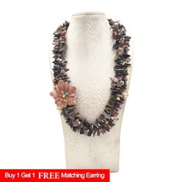 Lii Ji Natural Tourmalines Crystal Jaspers Flower 3 Rows Necklace with Shell Toggle Clasp 56cm