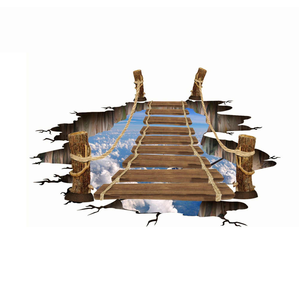 Sáng Tạo 3D Tầng Miếng Dán Gỗ Cầu Xanh Da Trời Mây Trắng Hoa Văn Treo Tường Decal Chống Trơn Trượt Trang Trí Nhà Trang Trí Phòng 80*100 cm