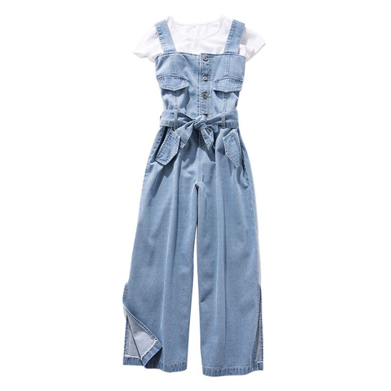 4xl 5xl Plus Size Women's Denim Wide Leg   Jumpsuits   Women Summer Streetwear Loose Jeans Overalls With Belt Casual Rompers A9216