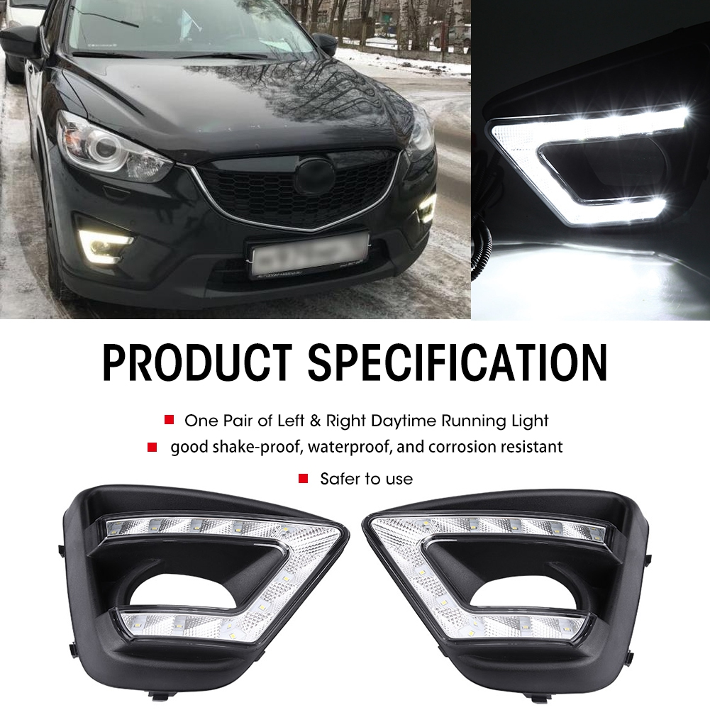 1 Pair Car Daytime Running Light DRL LED Daylight Fog Lamp Cover with DRL Controller for