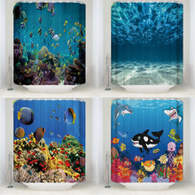 Beautiful Underwater World Fish Polyester Shower Curtains Washable High Quality Colorful for Bathroom Home Decor
