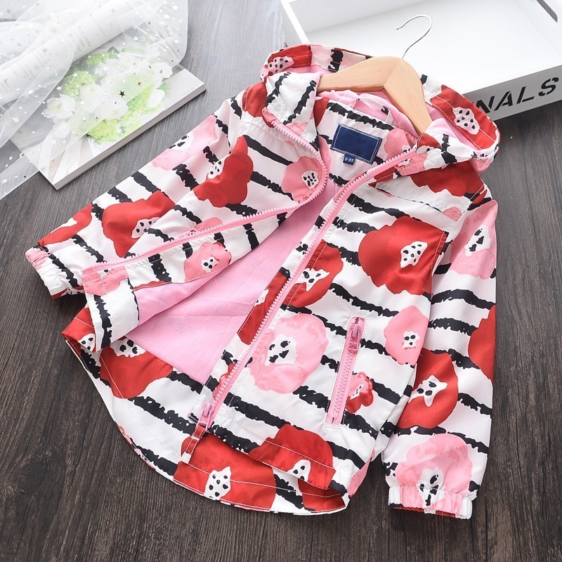 Girl Jacket Spring Red Pink Hooded Long Sleeve Kids Jackets For Girls Clothes Fashion Boutiques Children Outerwear Baby Outfit