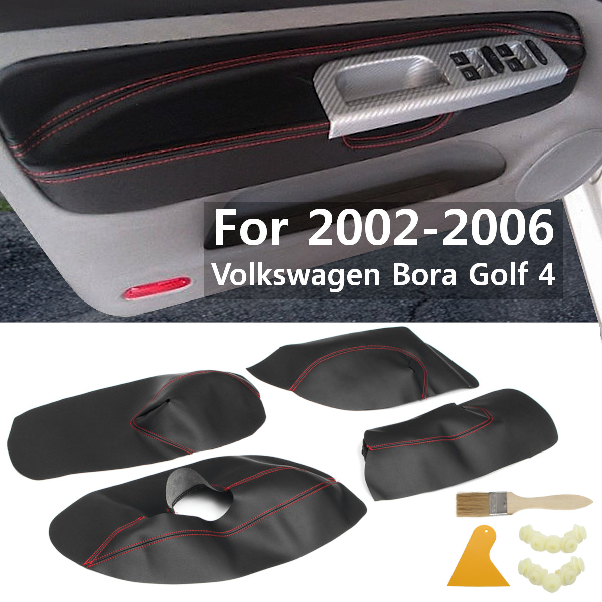 4PCS Car Protective Interior Door Panel Microfibre Leather Cover Accessory For Volkswagen Bora Golf 4 <font><b>2002</b></font> 2003 2004 05 06 image