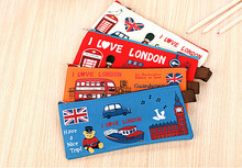 Ellen Brook 1 Piece New Stationery Lovely Cute Kawaii Case Soldier LOVE LONDON Creative Canvas School Office Supplies Pencil Bag(China)