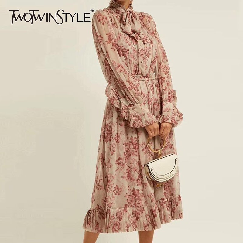 TWOTWINSTYLE Vintage Print Dress Women Bandage Bowknot Lantern Long Sleeve High Waist Dresses Female Elegant Spring