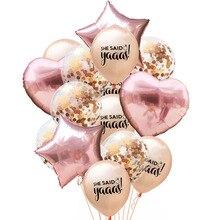 14Pcs 12inch Confetti Balloon Letter She Said Yaaas Rose Gold Latex Balloons Romantic Wedding Hen Bachelorette Party Supplies