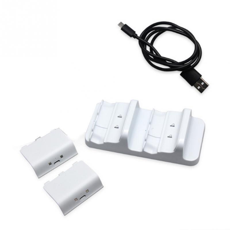 Nuevo Dual Base de carga controladores cargador portátil con paquetes de batería para Xbox un juego de accesorios #2