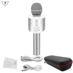 Image 3 - Neue WS858 Wireless Karaoke Bluetooth KTV HIFI Lautsprecher Echo Mischer Kondensator Mic Singen treffen Mikrofon Lautsprecher PK WS 858
