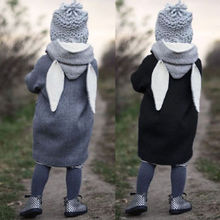 2019 Hot Warm Baby Girl Winter Coats Bunny Ear Hooded Cotton Children Cloak Outwear Long Sleeve Fashion Toddler Button Coat 1-5T