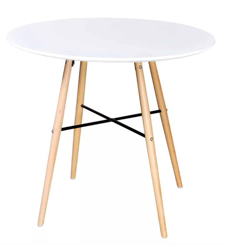 VidaXL High Quality Dining Table MDF Round Matte White/ Black Dining Table Easy To Clean Simple Design Desk With Wood Leg