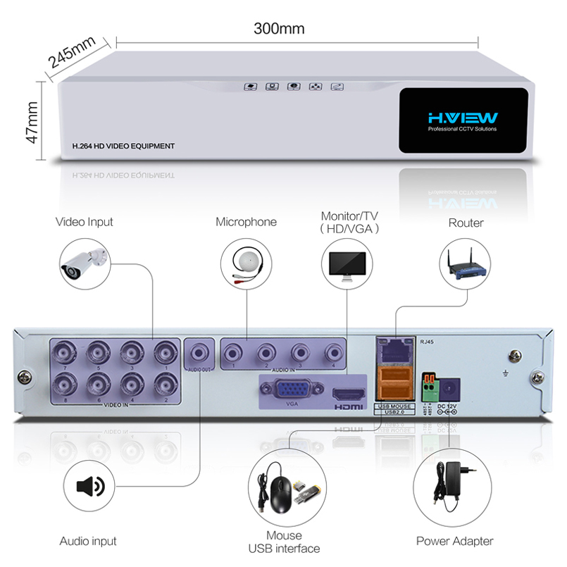 Image 4 - H.VIEW AHD DVR 8ch 4ch Recorder Surveillance 1TB HDD AHD DVR 8ch 4ch Recorder Surveillance for Analog TVI CVI IP Camera-in Surveillance Video Recorder from Security & Protection