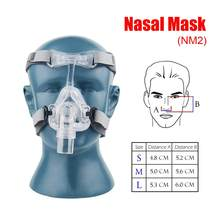 S/M/L tamaño máscara CPAP Nasal máscara NM2 con correa ajustable gorros y sombreros máscaras de respiración para la Apnea del sueño nasal los ronquidos Anti tratamiento
