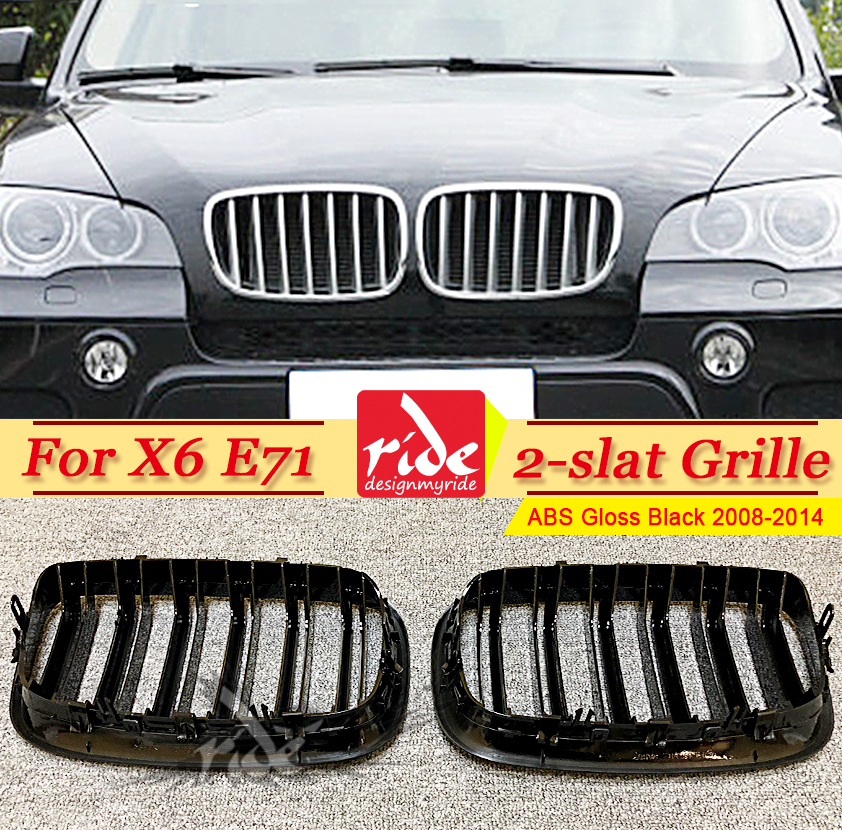 E71 Grille ABS Gloss Black For X6 Double Slats Front Mesh Grills M-Style X6M Car Bumper Kidney 2008-2014