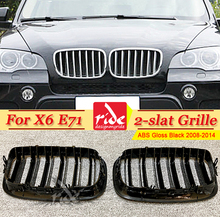 E71 Grille ABS Gloss Black For X6 E71 Double Slats Front Mesh Grills M-Style X6 E71 X6M Car Front Bumper Kidney Grille 2008-2014 possbay fit for bmw 3 series e90 sedan 2008 2011 facelift double rib front bumper kidney grille high quality car center grills