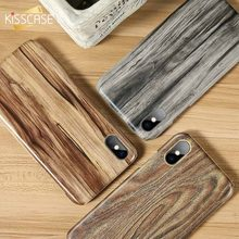 KISSCASE Texture Wooden Case For iPhone X 7 8 6 6s Plus Hard Wood Grain Back Cases XS MAX XR Cover Bag Fundas