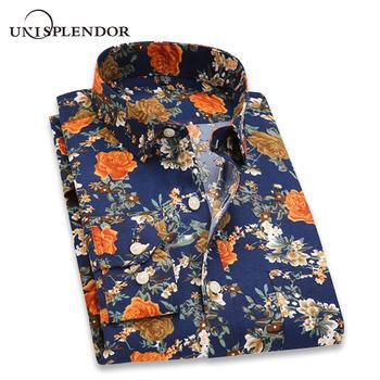 05ef9766eed 2019 с цветным Ретро принтом Мужские рубашки в стиле кэжуал классический  Для мужчин платье рубашка Для