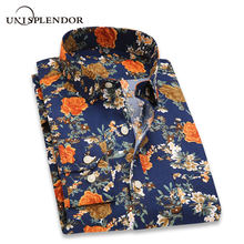 2019 Retro Floral Printed Men Casual Shirts Classic Men Dress Shirt Men's Long Sleeve Brand New Fashion Spring Shirts YN10015