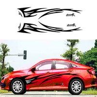 2pcs Car Vinyl Sticker Flame Graphics design Car side body decor cover Decals Car styling Black+Grey