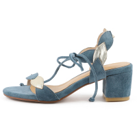 Genuine Leather Women Sandals 4 CM Chunky Heels Summer Style Party Pumps Open toe Blue Woman Shoes Box Packing PT018