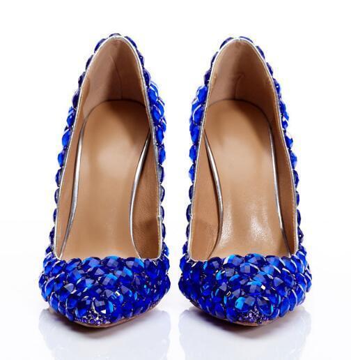 Photo À Femme Chaussures Réel Soirée Bleu Diamants Hauts Partie Blingbling Faire Talons Personnalisé Roi De Mariage xtI4W7