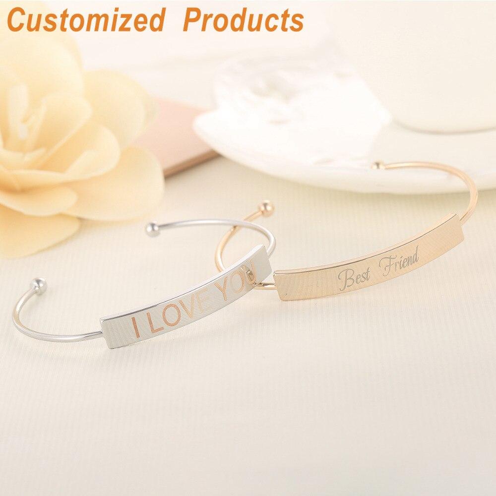 Gold Bar Bracelet For Women Custom Name Initial Bangles Engraved Personalized Minimalism Jewelry Qi Wu