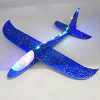 48Cm Hand Throw Lighting Up Flying Glider Plane Glow In The Dark Toys Foam Airplane Model Led Flash Games Toys For Children
