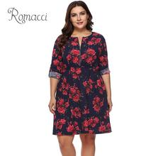 XXXL Plus Size christmas dress Women Large Size Vintage Dress Floral Print Long Sleeve Zip Front Slim Elegant Knee-length Dress