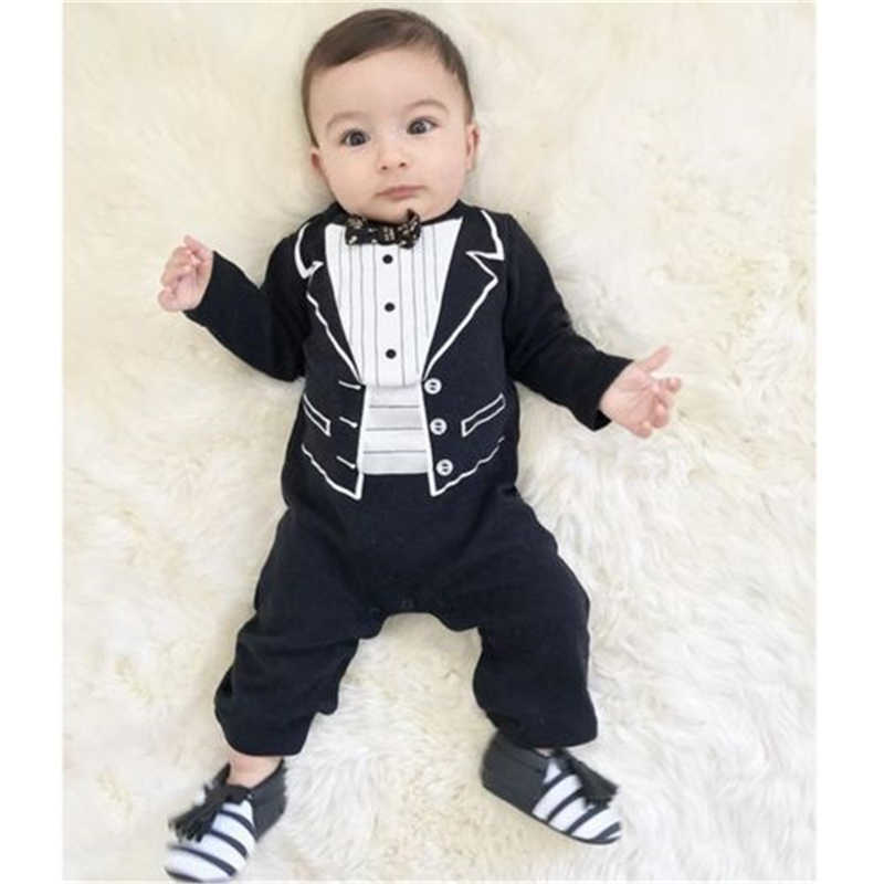 0812a9ce5b6 Infant Newborn Baby Boy Gentleman Suits Jumpsuit Romper Cloth Party Tuxedo  Autumn Long Sleeve