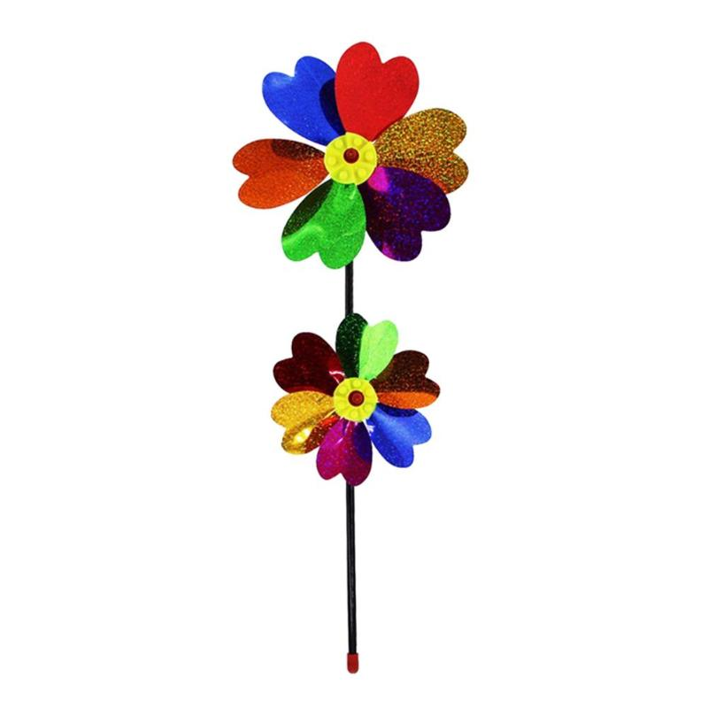 Classic Toys for Children DIY Windmill Kids Craft Sequins Garden Windmill Colorful Wind Spinner Kids Educational Toy