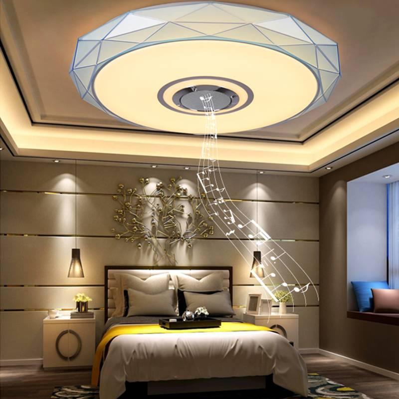 Rvb plafonnier à LED carré d'intensité réglable avec APP contrôle bluetooth haut-parleur musique plafonniers lampe pour hôtel salon salle à manger