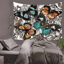 Animal cat and butterfly Elephant Tapestry Colored Printed Decorative Mandala Tapestry Indian Boho Wall Carpet HA2 fire and water butterfly pattern wall art tapestry