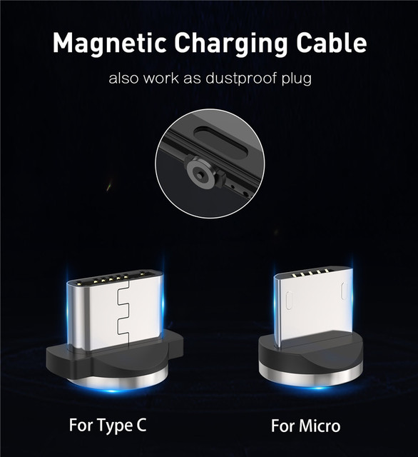 USLION Magnetic USB Cable Fast Charging USB Type C Cable Magnet Charger Data Charge Micro USB Cable Mobile Phone Cable USB Cord 2