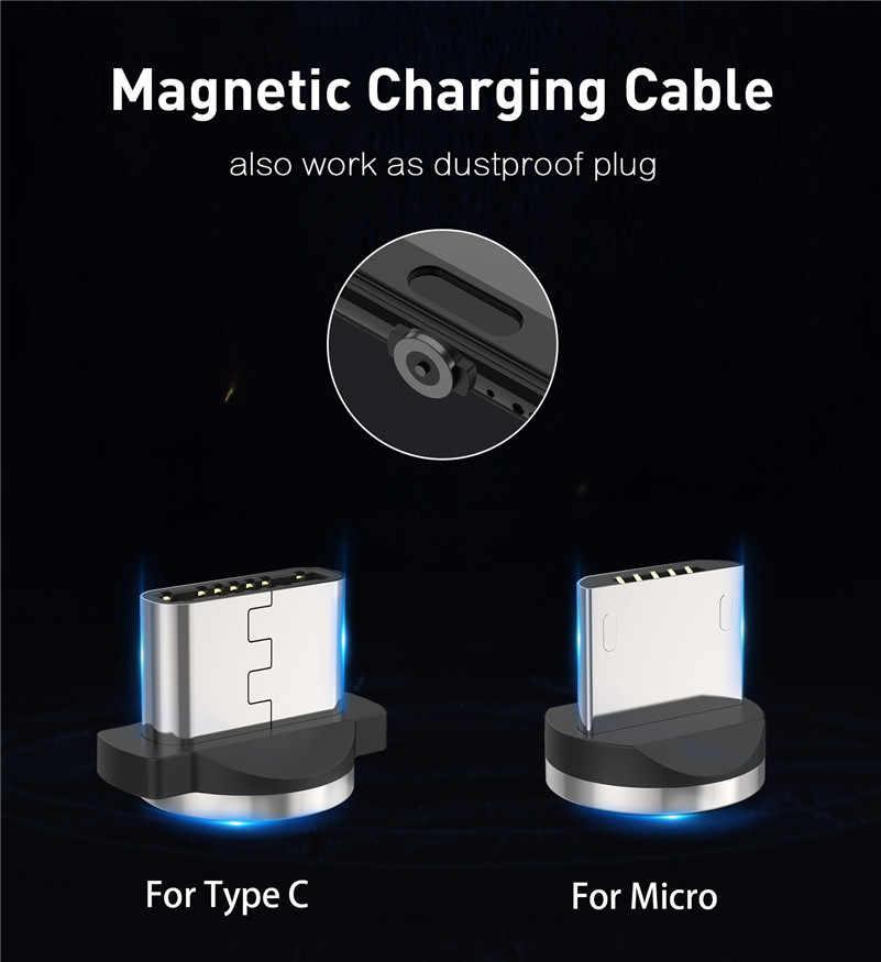 USLION كابل USB مغناطيسي شحن سريع USB نوع C كابل شاحن مغناطيسي شحن البيانات المصغّر USB كابل الهاتف المحمول كابل يو إس بي الحبل