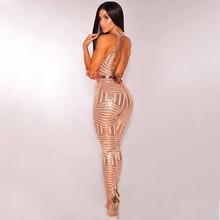 MUXU women sexy gold sequin jumpsuit plus size bodysuits body suit overalls paillette full bodysuit for
