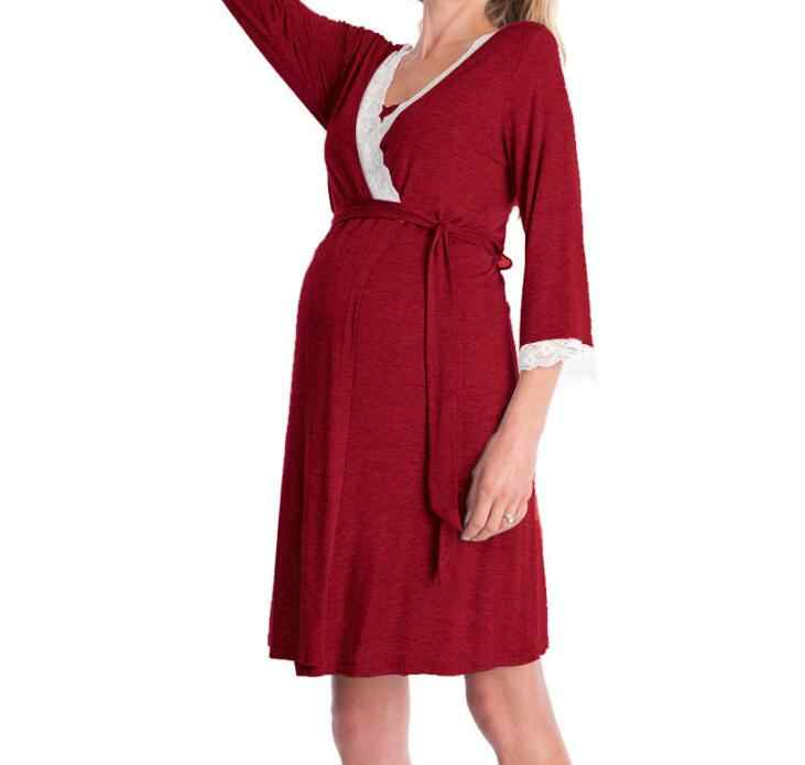 ... 2019 Autumn Pregnant Maternity Women 3 4 Sleeve Cotton Lace Robes Night Gown  Dress Casual ... a548faf4a