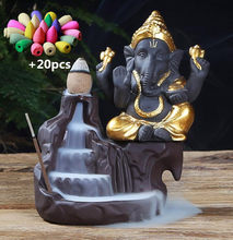 NOOLIM Ganesha Backflow Incense Burner Elephant god Emblem Auspicious and Success Ceramic Cone Censer Home Decor with 20pc Cones(China)