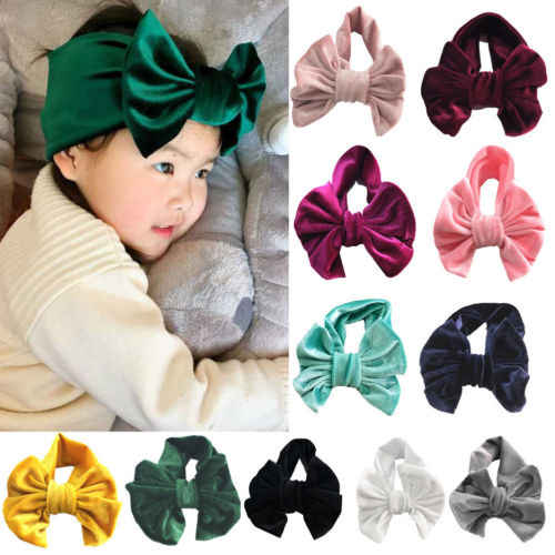 Baby Girl Toddler Kids Velvet Bow Hairband Headwear Turban Knot Hairwear Girls Baby Princess Cute Headband Head Wear Hairwear