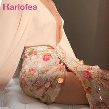 Karlofeaエレガントな花スパンコールスカート女性シックな非対称フロントドロップドレープミニラップスカートセクシーなクラブパーティー衣装スカート