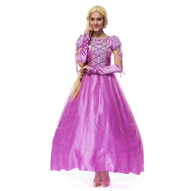 Halloween Princess Rapunzel Cosplay Costume Women Purple Princess Fancy Dress Adult Fancy Party Dress With Oversleeve