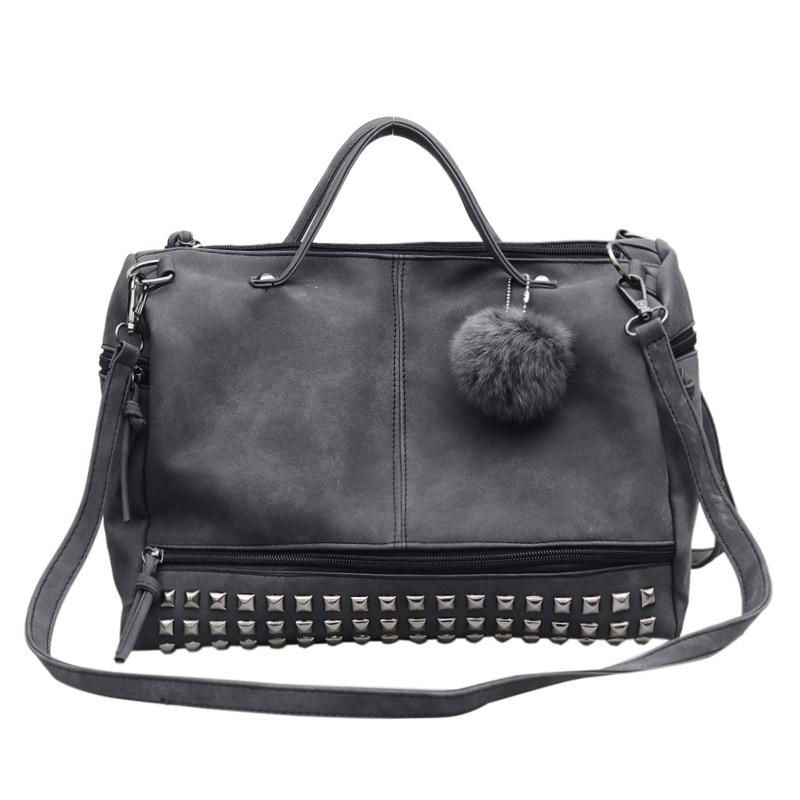 Black Rivet Pu Leather Tote Bags Women Handbags Luxury Vintage Designer Great Female Casual Bag