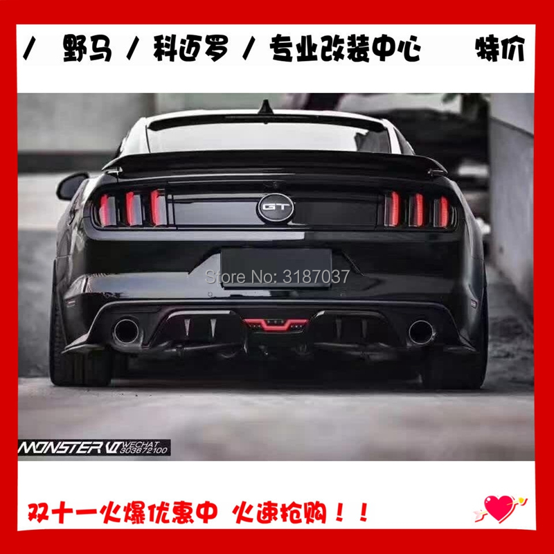 For Ford Mustang 2015 <font><b>2016</b></font> 2017 ABS Plastic Unpainted Color Rear Roof Spoiler Wing Trunk Lip Boot Cover Car Styling image
