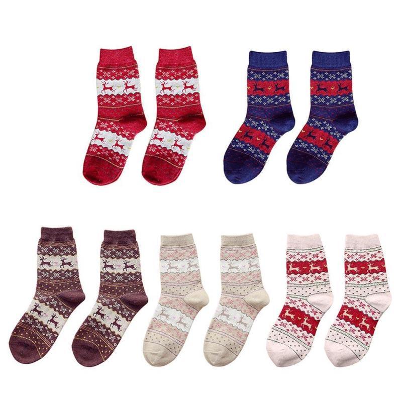 Женские трикотажные Носки с рисунком лося, рождественские плотные нескользящие носки