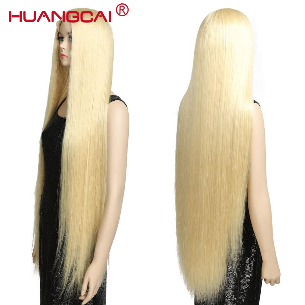 36 38 40 Inch 613 Blonde Lace Front Human Hair Wig Pre Plucked Peruvian Straight Lace Wigs With Baby Hair Honey Blonde Remy Hair