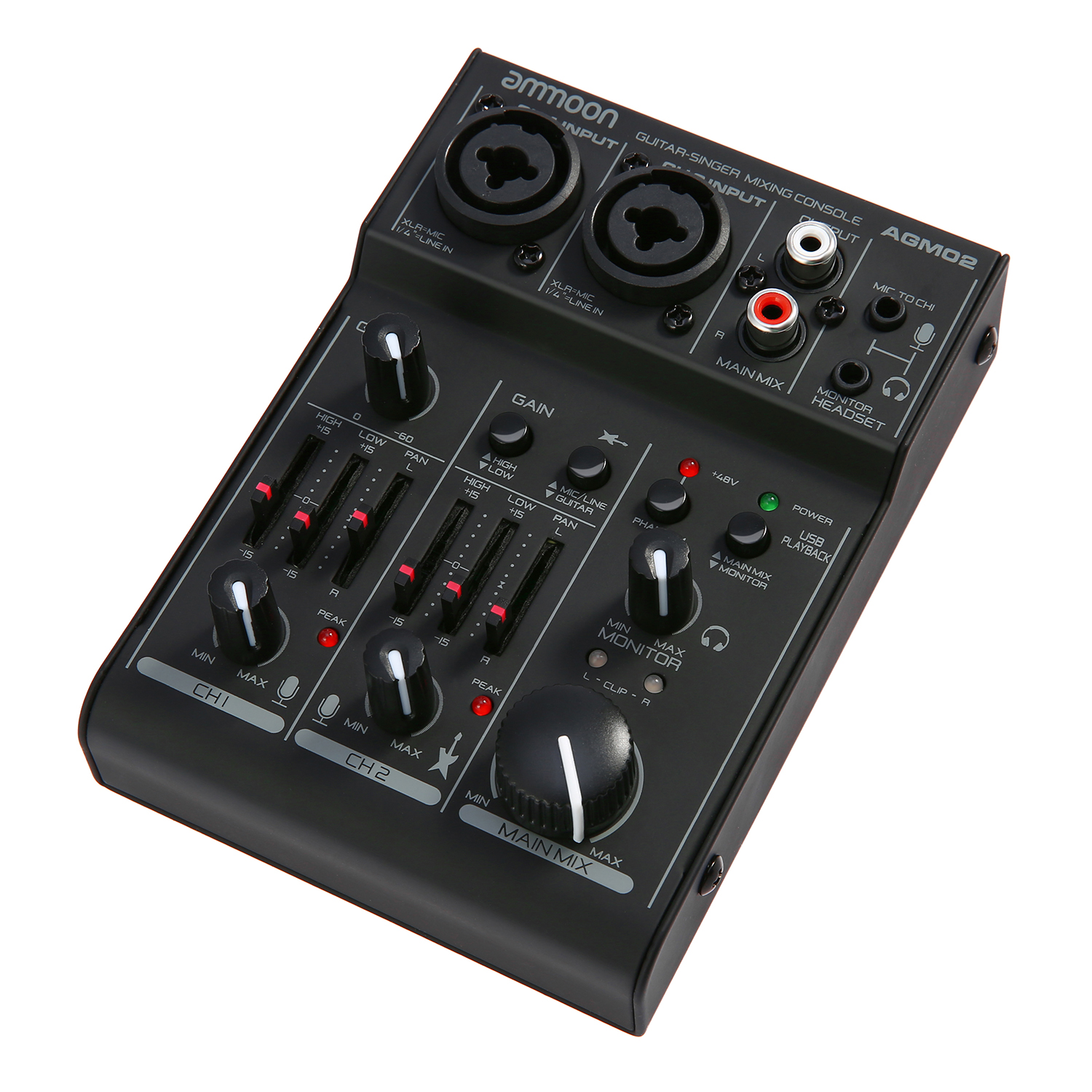 ammoon agm02 mini 2 channel sound card mixing console digital audio mixer 2 band eq built in 48v. Black Bedroom Furniture Sets. Home Design Ideas