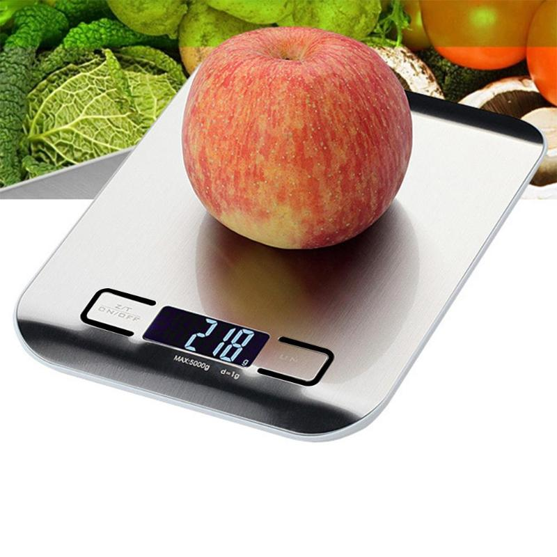 5kg/1kg Digital Scale Kitchen Cooking Measure Tools Stainless Steel Electronic Weighing Tool LCD Electronic Bench Weight Scales-in Weighing Scales from Tools