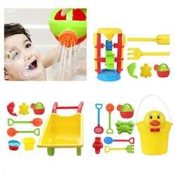 Детский пляжный песочный игровой набор игрушки песочные часы тележка утенок ведро игрушка гладкая Нетоксичная пластиковая Ванна вода