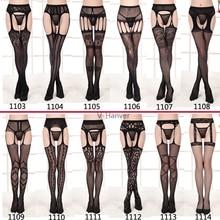 V-Hanver 1 Set Hot Sale Womens Fashion Sexy Lace Top Thigh-Highs Stockings Garter Belt G-string Suspender Transparent Underwear