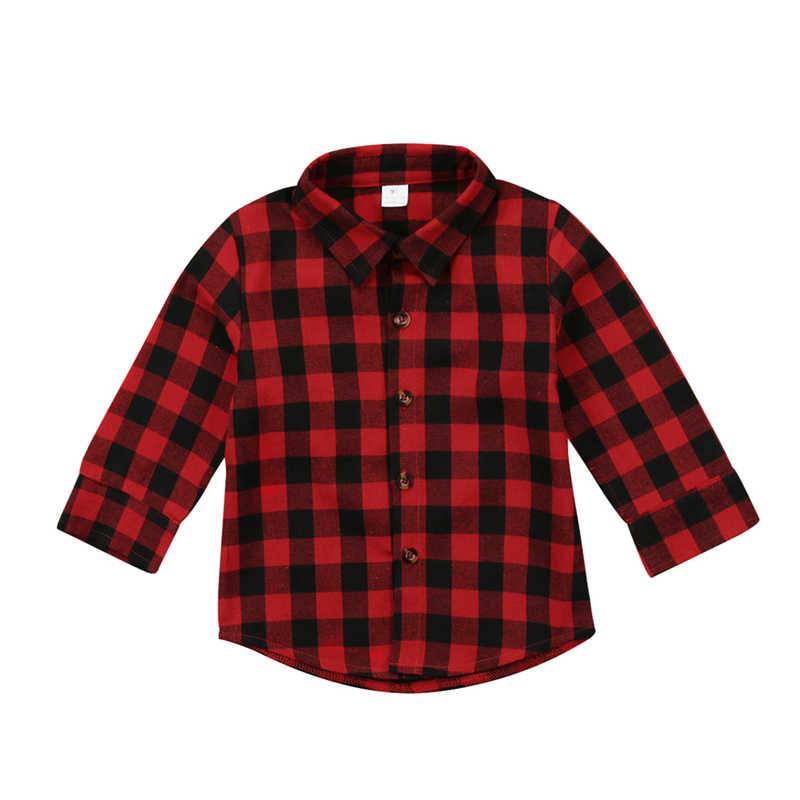 פעוט ילד תינוק ילד ילדה מודפס משובץ חולצות ארוך שרוול בגדי חולצה תינוקת חולצה משובצת אדומה מעיל עבור תינוקת