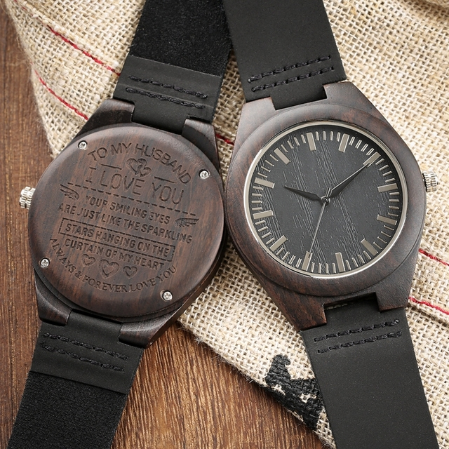 Handmade Wooden Watches Mens Watch Roman Numerals Engraved TO MY Husband/Boyfriend Clocks Present a Great Gifts for Men Lovers 1