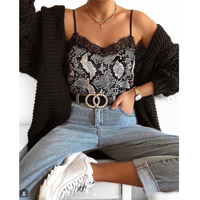 Camiseta sin mangas Sexy con cuello en V y estampado de leopardo para mujer